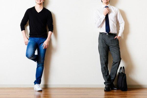 男性のスーツとカジュアルの服装