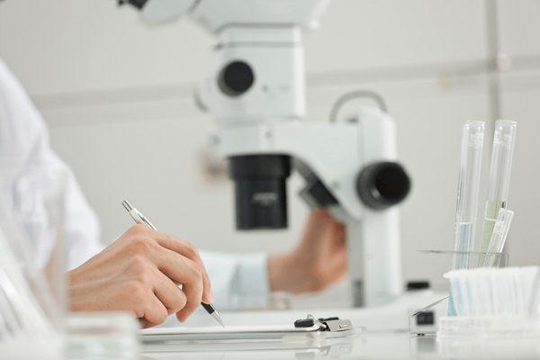 顕微鏡で研究